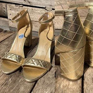 """🌻Marc Fisher """"Ramonda"""" Quilted Gold-Wrapped Block Heel Shoes Sandals Size 8.5"""
